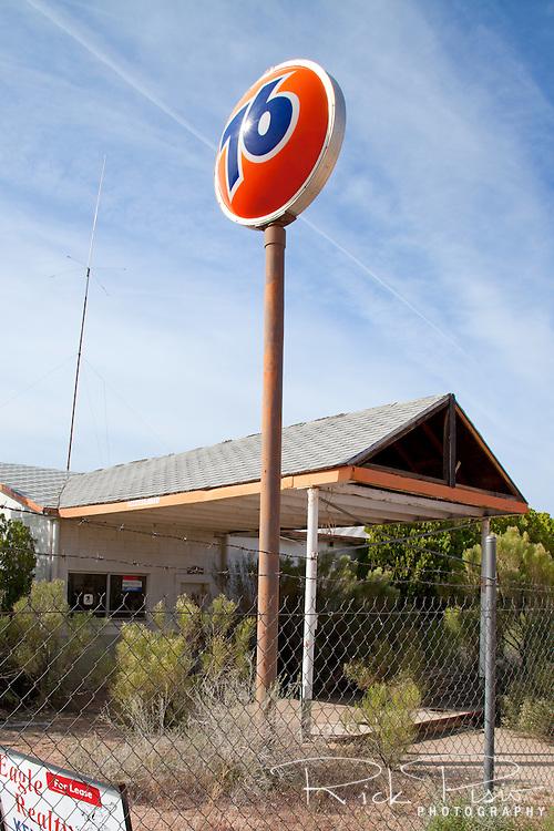 Abandoned Union 76 gas station on Route 66 near Valentine, Arizona.