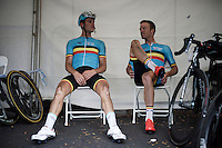 Nikolas Maes (BEL/Ettix-QuickStep) & Iljo Keisse (BEL/Etixx-QuickStep) out of the race and waiting for the race to end inside the Belgian tent at the finish line<br /> <br /> Elite Men Road Race<br /> UCI Road World Championships Richmond 2015 / USA