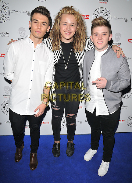Jake Sims, Luke Friend &amp; Nicholas McDonald attend the Jeans For Genes Day 2015 launch party, Chinawhite, Winsley Street, London, England, UK, on Wednesday 02 September 2015. <br /> CAP/CAN<br /> &copy;CAN/Capital Pictures