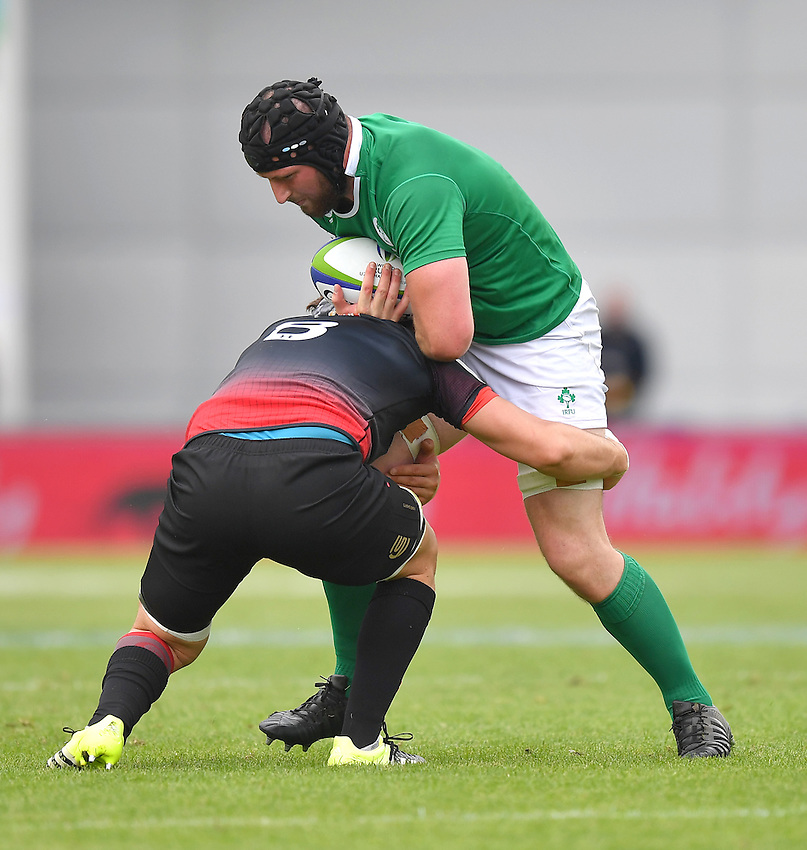 Ireland's Evan Mintern is tackled by Georgia's Beka Gorgadze<br /> <br /> Photographer Dave Howarth/CameraSport<br /> <br /> International Rugby Union - U20 World Rugby Championships 2016 - Pool B - Match 17 - Pool A Ireland U20 v Georgia U20 - Wednesday 15th June 2016 - Manchester City Academy Stadium - Manchester<br /> <br /> World Copyright &copy; 2016 CameraSport. All rights reserved. 43 Linden Ave. Countesthorpe. Leicester. England. LE8 5PG - Tel: +44 (0) 116 277 4147 - admin@camerasport.com - www.camerasport.com<br /> <br /> Photographer Stephen White/CameraSport<br /> <br /> International Rugby Union - U20 World Rugby Championships 2016 - Pool C France U20 v Argentina U20 - Match 1 - Tuesday 07th June 2016 - AJ Bell Stadium - Salford - England<br /> <br /> World Copyright &copy; 2016 CameraSport. All rights reserved. 43 Linden Ave. Countesthorpe. Leicester. England. LE8 5PG - Tel: +44 (0) 116 277 4147 - admin@camerasport.com - www.camerasport.com