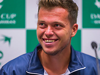 The Hague, The Netherlands, September 12, 2017,  Sportcampus , Davis Cup Netherlands - Chech Republic, Pre Draw press conference, Chech  team, Adam Pavlasek (CZE)<br /> <br /> Photo: Tennisimages/Henk Koster