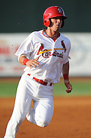 Johnson City Cardinals second baseman Neil Pritchard #12 runs to third during a game against the Greeneville Astros at Howard Johnson Field on July 13, 2011 in Johnson City, Tennessee.  Greeneville won the game 7-4.   (Tony Farlow/Four Seam Images)