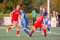 Boston, MA - Sunday September 10, 2017: Lindsey Horan, Tiffany Weimer and Hayley Raso during a regular season National Women's Soccer League (NWSL) match between the Boston Breakers and Portland Thorns FC at Jordan Field.