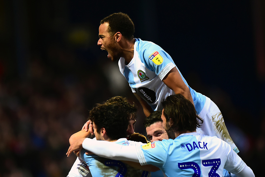 Blackburn Rovers' Charlie Mulgrew celebrates scoring his side's first goal with his team-mates<br /> <br /> Photographer Richard Martin-Roberts/CameraSport<br /> <br /> The EFL Sky Bet Championship - Blackburn Rovers v West Bromwich Albion - Tuesday 1st January 2019 - Ewood Park - Blackburn<br /> <br /> World Copyright © 2019 CameraSport. All rights reserved. 43 Linden Ave. Countesthorpe. Leicester. England. LE8 5PG - Tel: +44 (0) 116 277 4147 - admin@camerasport.com - www.camerasport.com