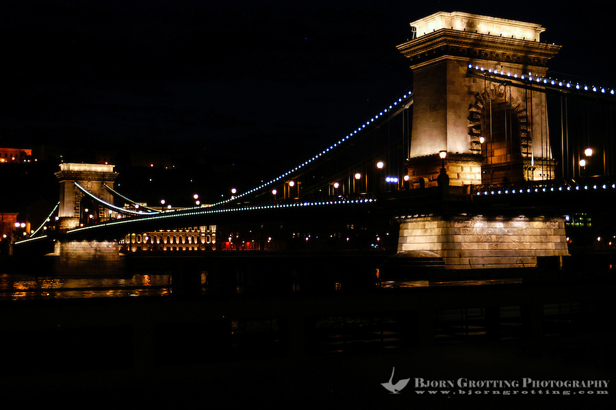Budapest, Hungary.  Széchenyi Chain Bridge at night.