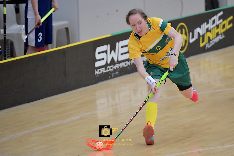 Australia's Vanessa Dwyer in action during the World Floorball Championships 2017 Qualification for Asia Oceania Region Final - Australia v Japan at ASB Sports Centre , Wellington, New Zealand on Sunday 5 February 2017.<br /> Photo by Masanori Udagawa<br /> www.photowellington.photoshelter.com.