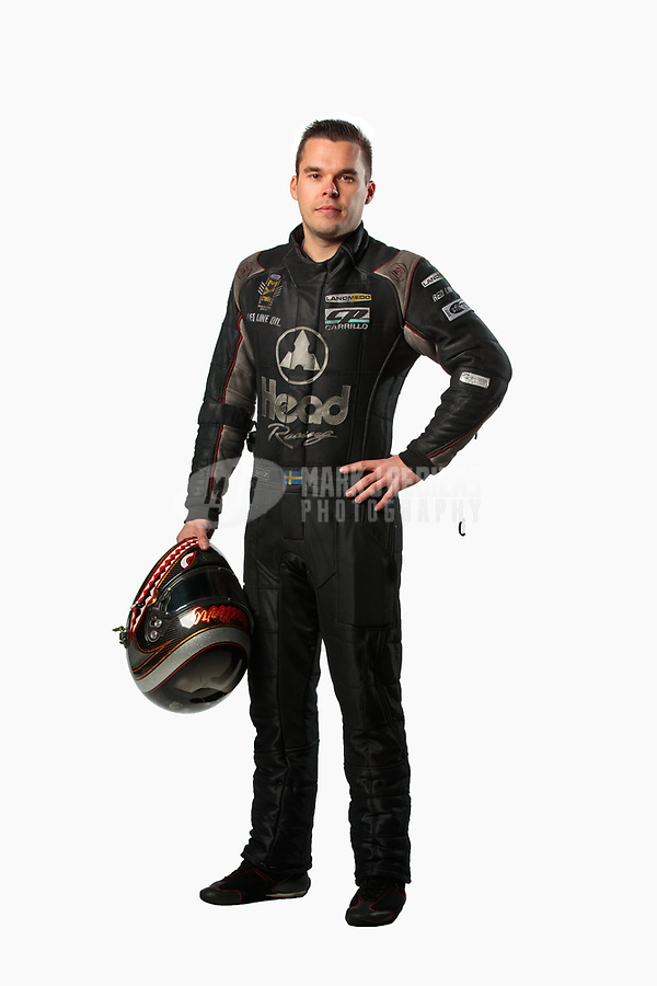 Feb 6, 2019; Pomona, CA, USA; NHRA funny car driver Jonnie Lindberg poses for a portrait during NHRA Media Day at the NHRA Museum. Mandatory Credit: Mark J. Rebilas-USA TODAY Sports