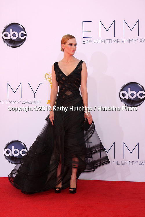 LOS ANGELES - SEP 23:  January Jones arrives at the 2012 Emmy Awards at Nokia Theater on September 23, 2012 in Los Angeles, CA