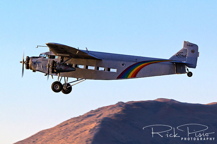 Ford Trimotor in flight. N414H was used for 65 years as a sightseeing aircraft flying over the Grand Canyon.