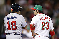 Johnny Damon of the USA and Adrian Gonzalez of Mexico during the World Baseball Championships at Angel Stadium in Anaheim,California on March 16, 2006. Photo by Larry Goren/Four Seam Images