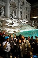 Rome, Italy, November 3,2015. La Cerimonia di apertura della Fontana di Trevi dopo il restauro. <br /> The restored Trevi fountain during its inauguration in central Rome