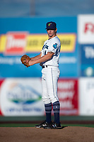Everett AquaSox relief pitcher Nolan Hoffman (14) gets ready to deliver a pitch during a Northwest League game against the Tri-City Dust Devils at Everett Memorial Stadium on September 3, 2018 in Everett, Washington. The Everett AquaSox defeated the Tri-City Dust Devils by a score of 8-3. (Zachary Lucy/Four Seam Images)