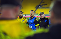 From left, Ngani Laumape, Hurricanes assistant coach Carlos Spencer and manager Tony Ward after the Super Rugby match between the Hurricanes and Sharks at Sky Stadium in Wellington, New Zealand on Saturday, 15 February 2020. Photo: Dave Lintott / lintottphoto.co.nz
