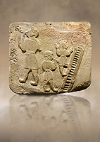 Upright picture of Alaca Hoyuk Sphinx Gate Hittite monumental relief sculpted orthostat stone panel. Andesite, Alaca, Corum, 1399 - 1301 B.C. Jugglers and acrobats.  Anatolian Civilizations Museum, Ankara, Turkey<br /> <br /> The juggler facing towards left, with long hair and a short dress, swallows a dagger; the smaller acrobats behind go up the stairs without holding on. All the figures have horned headdresses and earrings with a huge ring on their ears. It is thought that the acrobats are of different nationality, which is the reason why they are depicted smaller. <br /> <br /> Against a brown art background.