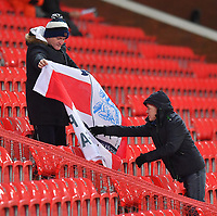 Preston fans unfurl their flag<br /> <br /> Photographer Dave Howarth/CameraSport<br /> <br /> The EFL Sky Bet Championship - Stoke City v Preston North End - Wednesday 12th February 2020 - bet365 Stadium - Stoke-on-Trent <br /> <br /> World Copyright © 2020 CameraSport. All rights reserved. 43 Linden Ave. Countesthorpe. Leicester. England. LE8 5PG - Tel: +44 (0) 116 277 4147 - admin@camerasport.com - www.camerasport.com