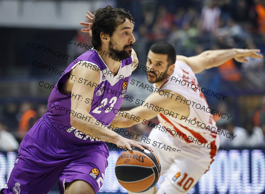BELGRADE, SERBIA - DECEMBER 22: Sergio Llull (L) of Real Madrid in action against Branko Lazic (R) of Crvena Zvezda during the 2016/2017 Turkish Airlines EuroLeague Regular Season Round 14 game between Crvena Zvezda MTS Belgrade and Real Madrid at Aleksandar Nikolic Hall on December 22, 2016 in Belgrade, Serbia. (Photo by Srdjan Stevanovic/Getty Images)