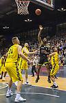 13.04.2019, EWE Arena, Oldenburg, GER, easy Credit-BBL, EWE Baskets Oldenburg vs medi Bayreuth, im Bild<br /> Kyan ANDERSON (medi Bayreuth #7 ) Rashid MAHALBASIC (EWE Baskets Oldenburg #24 )Viojdan STOJANOVSKI (EWE Baskets Oldenburg #19 )<br /> <br /> Foto &copy; nordphoto / Rojahn
