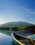 Mt. Katahdin, canoe on Upper Togue Pond in Baxter State Park, Maine, USA