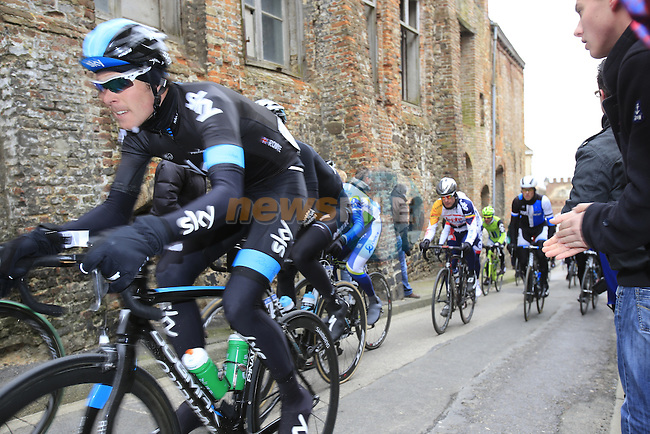 Riders including Luke Rowe (GBR) Sky Procycling climb Casselberg for the 2nd time and pass through the old town of Cassel during the 75th edition of Gent-Wevelgem, France, 24th  March 2013 (Photo by Eoin Clarke 2013)