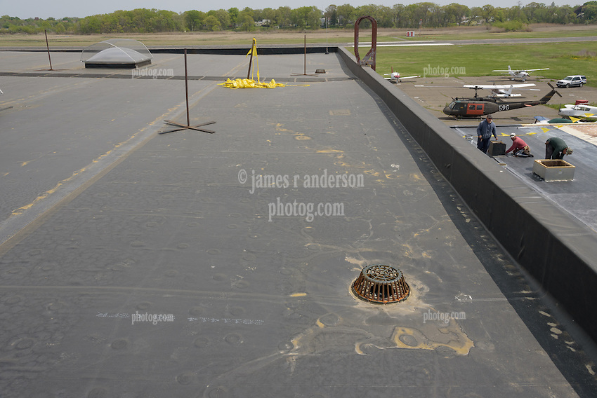 Roof Replacement and Mechanical Upgrades Stratford School For Aviation Maintenance Technicians.  Project No: BI-RT-860<br /> Contractor: Silktown Roofing, Manchester CT.<br /> James R Anderson Photography   New Haven CT   photog.com<br /> Date of Photograph: 15 May 2014<br /> Camera View: South, Roof C  Image No. 25