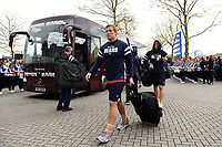 Jordan Crane and the rest of the Bristol Bears team arrive at Twickenham Stadium. Gallagher Premiership match, The Clash, between Bath Rugby and Bristol Rugby on April 6, 2019 at Twickenham Stadium in London, England. Photo by: Patrick Khachfe / Onside Images
