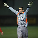 Clyde keeper Nik Rajovic celebrates at the end of the game.