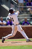 Outfielder Jerrick Suiter #31 of the Texas Christian University Horned Frogs swings during the NCAA Regional baseball game against the Ole Miss Rebels on June 1, 2012 at Blue Bell Park in College Station, Texas. Ole Miss defeated TCU 6-2. (Andrew Woolley/Four Seam Images)