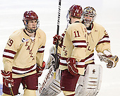 Chris Kreider (BC - 19), Pat Mullane (BC - 11), Chris Venti (BC - 30) - The Boston College Eagles defeated the Air Force Academy Falcons 2-0 in their NCAA Northeast Regional semi-final matchup on Saturday, March 24, 2012, at the DCU Center in Worcester, Massachusetts.