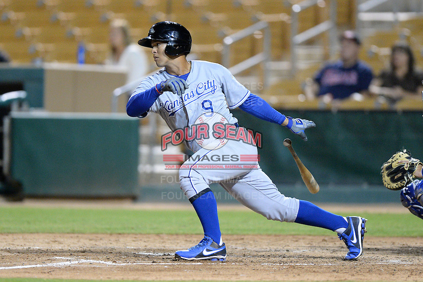 Peoria Javelinas infielder Cheslor Cuthbert (9), of the Kansas City Royals organization, during an Arizona Fall League game against the Glendale Desert Dogs on October 14, 2013 at Camelback Ranch Stadium in Glendale, Arizona.  Glendale defeated Peoria 5-1.  (Mike Janes/Four Seam Images)