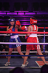"""Sonia McGuirk """"Sugar Baby Sonya"""" (red) sponsored by You're Gorgeous and Emma Jane Flynn, """"Emma Jane""""Feel the Pain"""""""" Flynn (blue) sponsored by GOSH Cosmetics taking part in Drogheda and District, """"Battle of the Barbican"""" White Collar Boxing Event in aid of the Des Smyth Foundation...(Photo credit should read Jenny Matthews www.newsfile.ie)....This Picture has been sent you under the conditions enclosed by:.Newsfile Ltd..The Studio,.Millmount Abbey,.Drogheda,.Co Meath..Ireland..Tel: +353(0)41-9871240.Fax: +353(0)41-9871260.GSM: +353(0)86-2500958.email: pictures@newsfile.ie.www.newsfile.ie."""