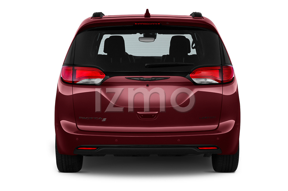 Straight rear view of 2020 Chrysler Pacifica Limited 5 Door Minivan Rear View  stock images