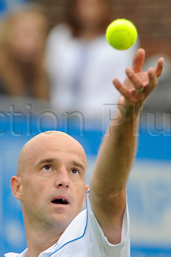 06.06.2011 The AEGON Championships from Queens Club in London. Ivan Ljubicic of Croatia serves in his match against Ryan Sweeting of the USA on day one of the Aegon Championships at the Queen's Club.