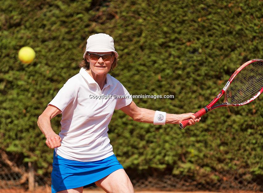 Netherlands, Amstelveen, August 22, 2015, Tennis,  National Veteran Championships, NVK, TV de Kegel,  Lady's  55+, Nora Blom<br /> Photo: Tennisimages/Henk Koster
