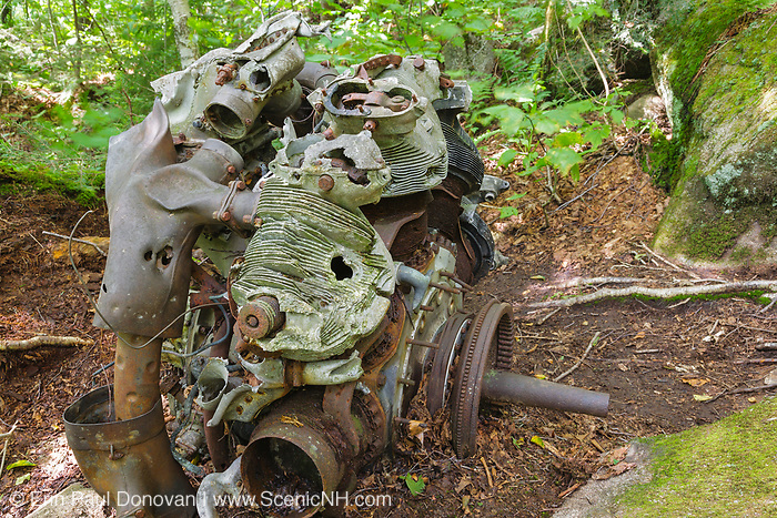 Remnants of an engine at the crash site of a B-18 Bomber on Mount Waternomee in Woodstock, New Hampshire. This bomber crashed on January 14, 1942. Out of seven crew members, five survived the crash and were able to remove themselves from the wreckage. The remaining two members died when the plane exploded.