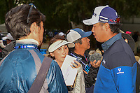 Hideki Matsuyama (JPN) is interviewed following round 2 of the World Golf Championships, Mexico, Club De Golf Chapultepec, Mexico City, Mexico. 3/3/2017.<br /> Picture: Golffile | Ken Murray<br /> <br /> <br /> All photo usage must carry mandatory copyright credit (&copy; Golffile | Ken Murray)