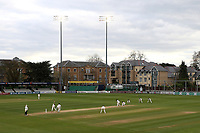 The floodlights in use during Essex CCC vs Lancashire CCC, Specsavers County Championship Division 1 Cricket at The Cloudfm County Ground on 10th April 2017