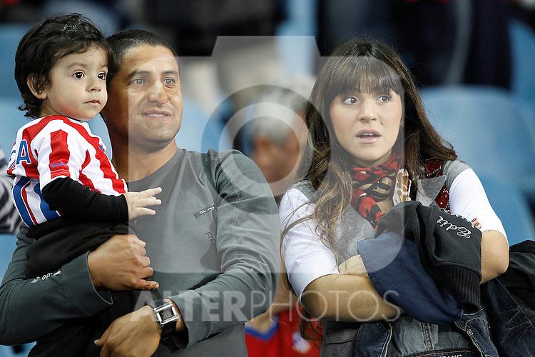 Giannina Maradona (Sergio Aguero's wife) and son Benjamin during la Liga match, september 26, 2010...Photo: Cesar Cebolla / ALFAQUI
