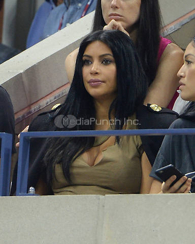 FLUSHING NY- SEPTEMBER 08: Kim Kardashian is sighted watching Serena Williams Vs Venus Williams on Arthur Ashe Stadium at the USTA Billie Jean King National Tennis Center on September 8, 2015 in Flushing Queens. Credit: mpi04/MediaPunch