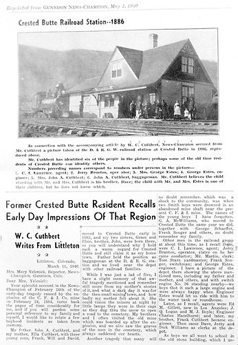 Memoirs of W. C. Cuthbert.<br /> D&amp;RGW  Crested Butte, CO  5/2/1940