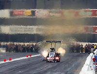 Feb 8, 2014; Pomona, CA, USA; NHRA top fuel dragster driver David Grubnic during qualifying for the Winternationals at Auto Club Raceway at Pomona. Mandatory Credit: Mark J. Rebilas-