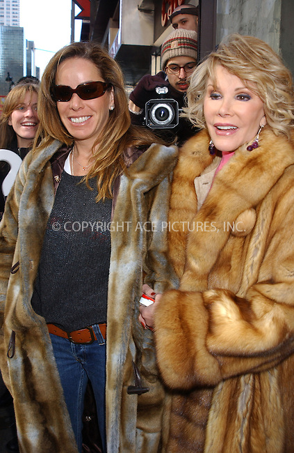 WWW.ACEPIXS.COM . . . . . ....NEW YORK, FEBRUARY 23, 2005....Melissa and Joan Rivers seen out on 42nd Street.....Please byline: KRISTIN CALLAHAN - ACE PICTURES.. . . . . . ..Ace Pictures, Inc:  ..Philip Vaughan (646) 769-0430..e-mail: info@acepixs.com..web: http://www.acepixs.com