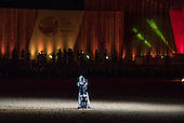 A Russian participant sings during the closing event at the International Indigenous Games, in the city of Palmas, Tocantins State, Brazil. Photo © Sue Cunningham, pictures@scphotographic.com 31st October 2015