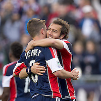 New England Revolution midfielder/defender Chris Tierney (8) and New England Revolution defender AJ Soares (5) celebrate team victory. In a Major League Soccer (MLS) match, the New England Revolution defeated Portland Timbers, 1-0, at Gillette Stadium on March 24, 2012