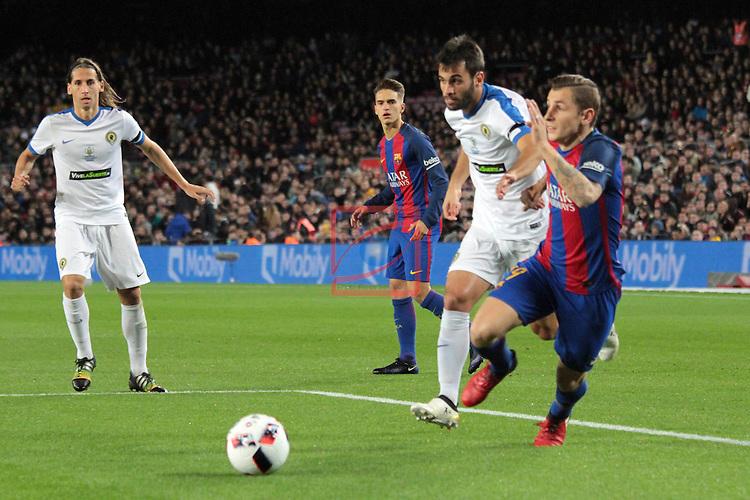 Copa del Rey 2016/2017. 1/16 Final-Vuelta.<br /> FC Barcelona vs Hercules CF: 7-0.<br /> Albert Dalmau vs Lucas Digne.