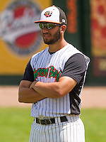 GREEN BAY - June 2015: Green Bay Bullfrogs catcher Franco Guardascione (2) during a Northwoods League game against the Kenosha Kingfish on June 21st, 2015 at Joannes Park in Green Bay, Wisconsin. Green Bay defeated Kenosha 10-7. (Brad Krause/Krause Sports Photography)