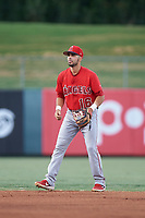 Shortstop Jose Guzman (16), of the AZL Angels, during an Arizona League game against the AZL Padres 1 on August 5, 2019 at Tempe Diablo Stadium in Tempe, Arizona. AZL Padres 1 defeated the AZL Angels 5-0. (Zachary Lucy/Four Seam Images)