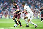 Real Madrid Raphael Varane and A.C. Milan Giacomo Bonaventura during Santiago Bernabeu Trophy match at Santiago Bernabeu Stadium in Madrid, Spain. August 11, 2018. (ALTERPHOTOS/Borja B.Hojas)