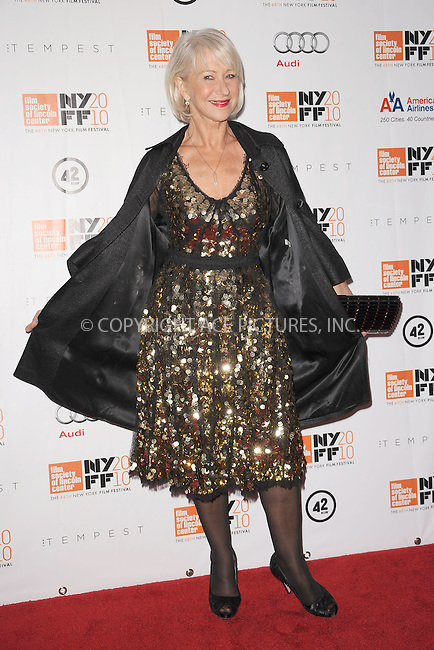 WWW.ACEPIXS.COM . . . . . .October 2, 2010, New York City....Helen Mirren attends the 48th New York Film Festival Centerpiece Selection North American Premiere of THE TEMPEST at Alice Tully Hall, Lincoln Center on October 2, 2010 in New York City....Please byline: KRISTIN CALLAHAN - ACEPIXS.COM.. . . . . . ..Ace Pictures, Inc: ..tel: (212) 243 8787 or (646) 769 0430..e-mail: info@acepixs.com..web: http://www.acepixs.com .