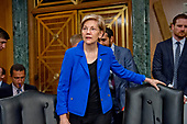 """United States Senator Elizabeth Warren (Democrat of Massachusetts) arrives to hear Richard F. Smith, former Chairman and Chief Executive Officer, Equifax, Inc. give testimony before the US Senate Committee on Banking, Housing, and Urban Affairs as they conduct a hearing entitled, """"An Examination of the Equifax Cybersecurity Breach"""" on Capitol Hill in Washington, DC on Tuesday, October 3, 2017. <br /> Credit: Ron Sachs / CNP"""