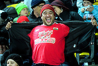 A Wales fan celebrates Alun Wyn Jones' try during the Steinlager Series rugby union match between the New Zealand All Blacks and Wales at Westpac Stadium, Wellington, New Zealand on Saturday, 18 June 2016. Photo: Dave Lintott / lintottphoto.co.nz